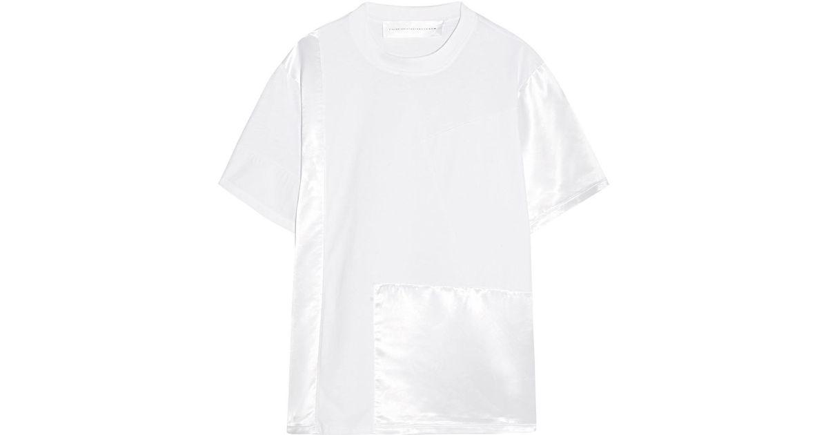 Patchwork Cotton-jersey, Poplin And Satin T-shirt - White Victoria Beckham