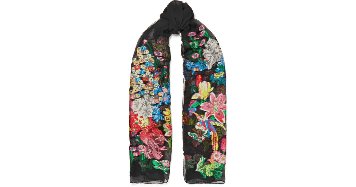 Embroidered Silk-blend Georgette Scarf - Black Etro IAU5UCn0