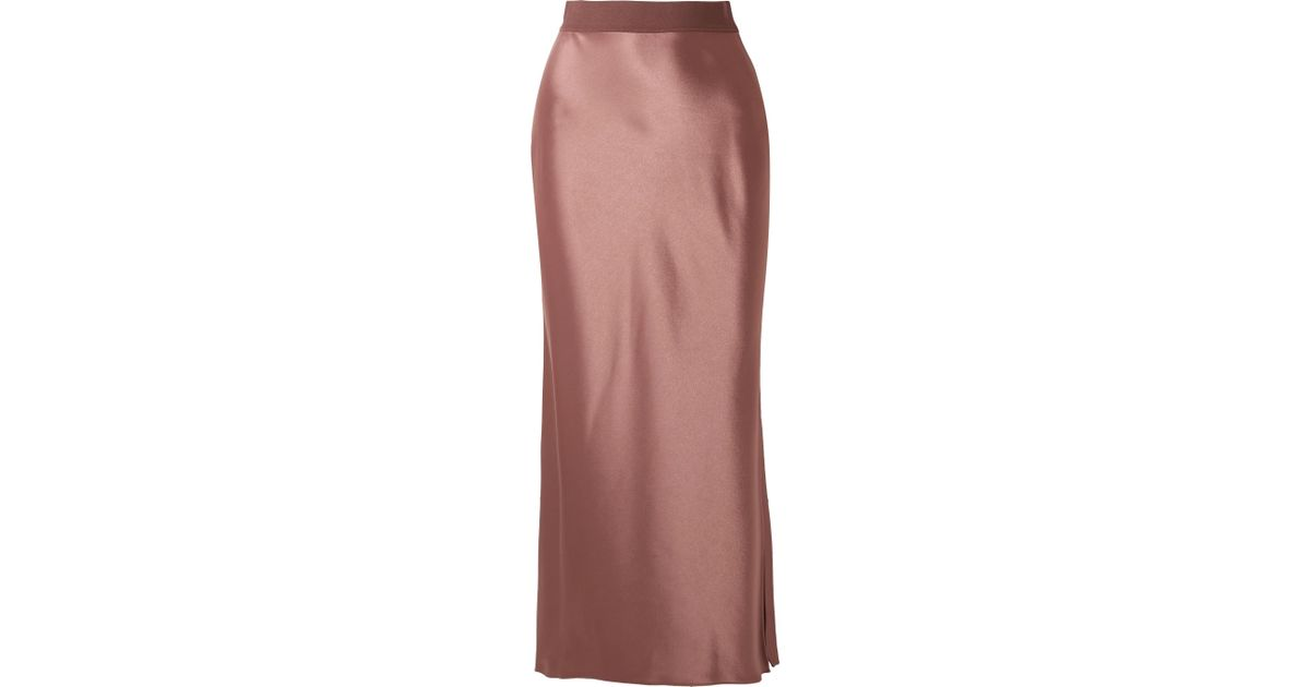 8a3d984c921cf0 Theory Satin Maxi Skirt in Brown - Lyst