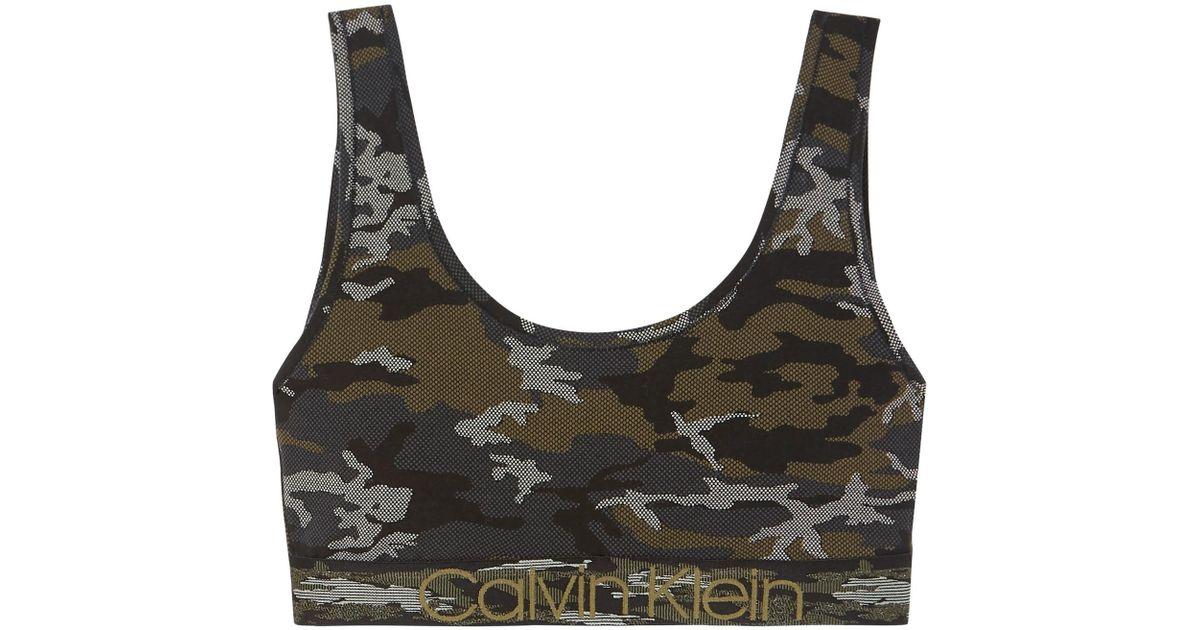 Calvin Klein Camouflage-print Stretch-cotton Soft-cup Bra