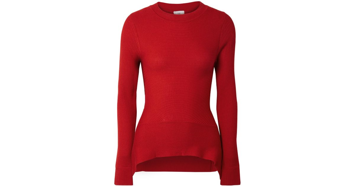 Ribbed Merino Wool, Silk And Cashmere-blend Sweater - Red Tome