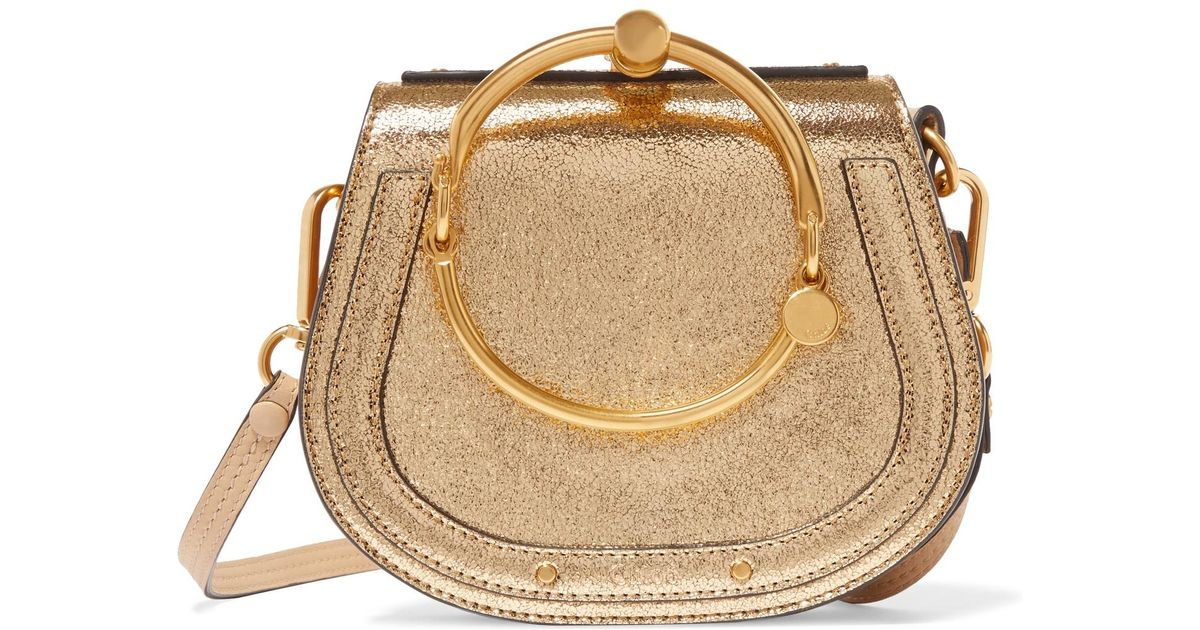 fbb1cea3eb Chloé Exclusive Nile Bracelet Small Metallic Leather And Suede Shoulder Bag