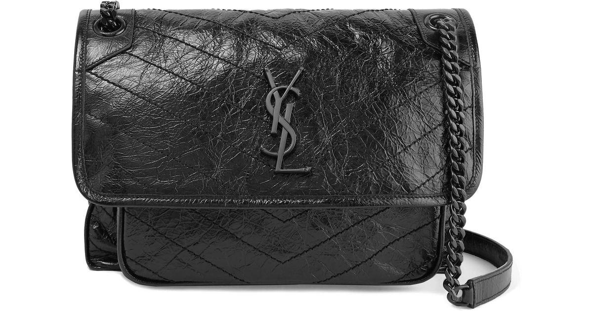 b77fae6ace Lyst - Saint Laurent Niki Medium Quilted Crinkled Glossed-leather Shoulder  Bag in Black