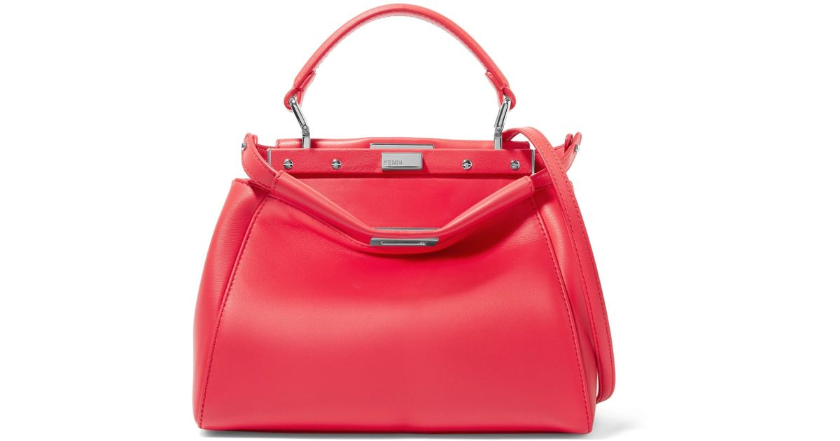 75c645a5d8a2 Lyst - Fendi Peekaboo Mini Leather Shoulder Bag in Red