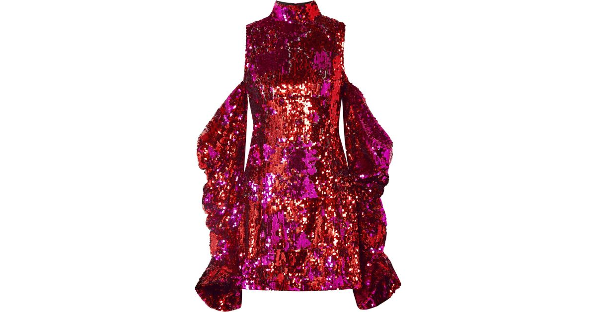 fe06b0627db72 Lyst - Halpern Sequin Embellished Off The Shoulder Mini Dress in Pink -  Save 54%