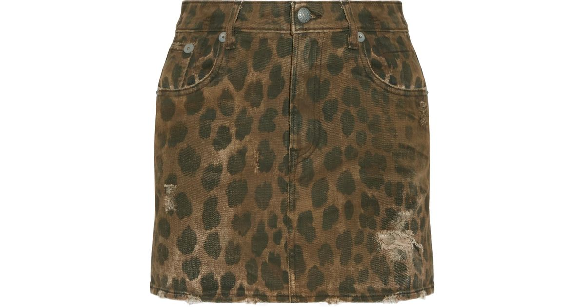 08719b32d R13 Distressed Leopard-print Denim Mini Skirt - Lyst