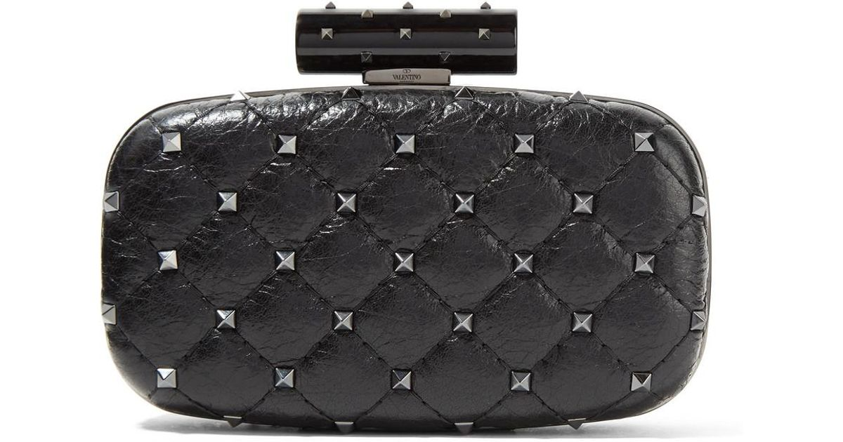 Valentino Garavani The Rockstud Spike Quilted Cracked-leather Clutch - Black Valentino eM0IQVUj