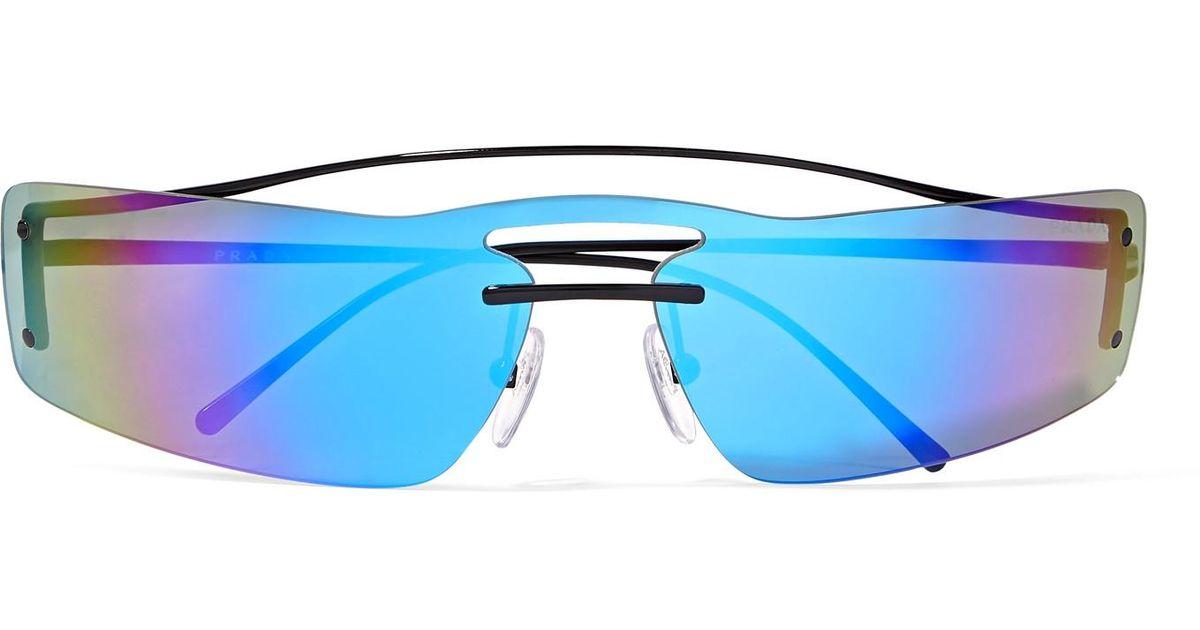 27f84a699af9 ... czech prada square frame metal mirrored sunglasses in blue lyst 3511b  af005 ...
