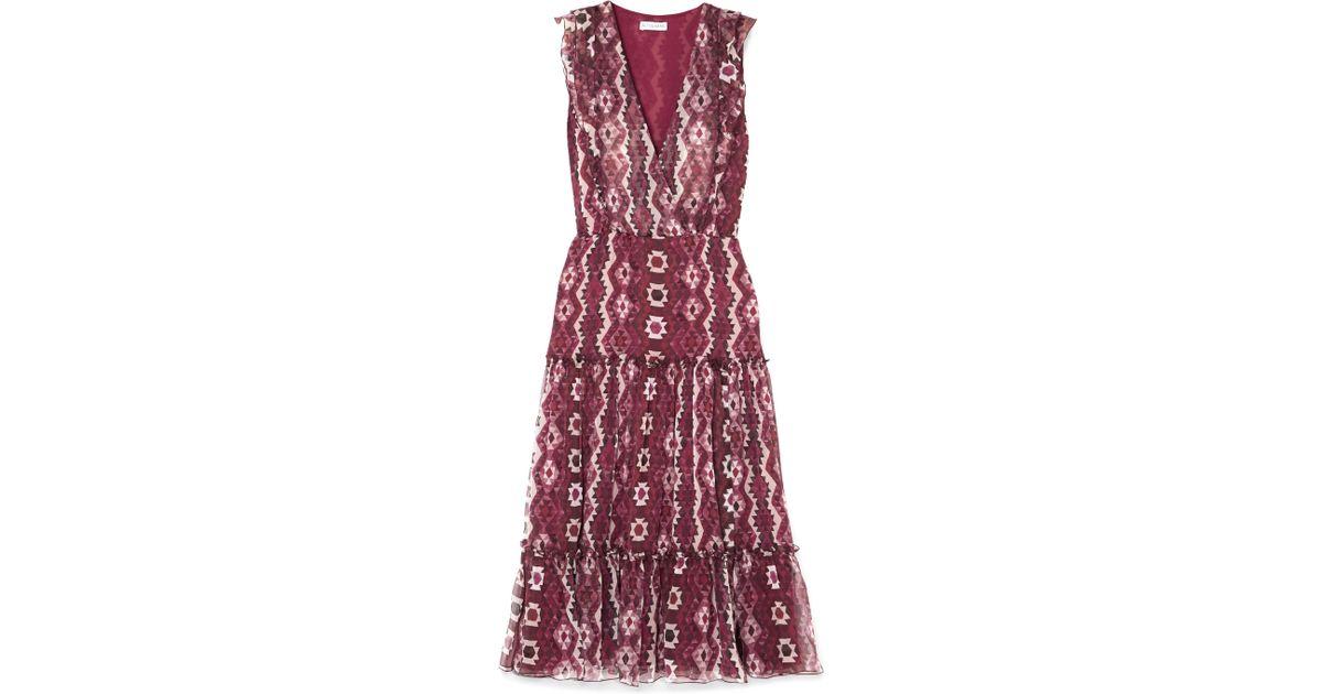 Jorma Ruffled Printed Silk-georgette Midi Dress - Purple Altuzarra wURz5tv