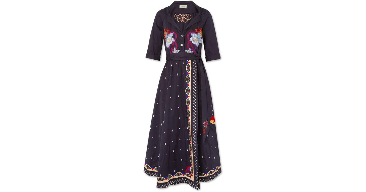 Divine Embroidered Cotton Wrap Midi Dress - Storm blue Temperley London 5ayOU8I