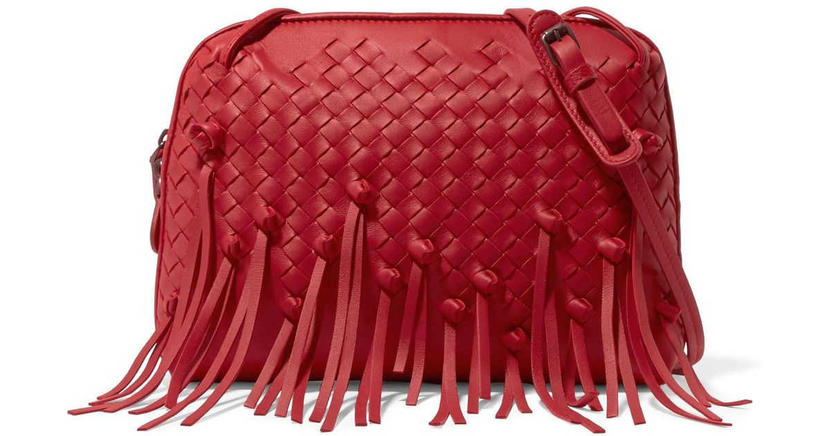 Lyst - Bottega Veneta Nodini Fringed Intrecciato Leather Shoulder Bag in Red 5972ab88a6f84