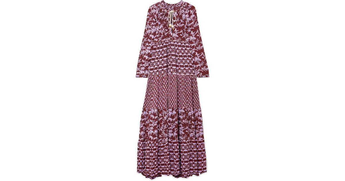 4daaf528 Yvonne S Purple Tiered Printed Georgette Maxi Dress