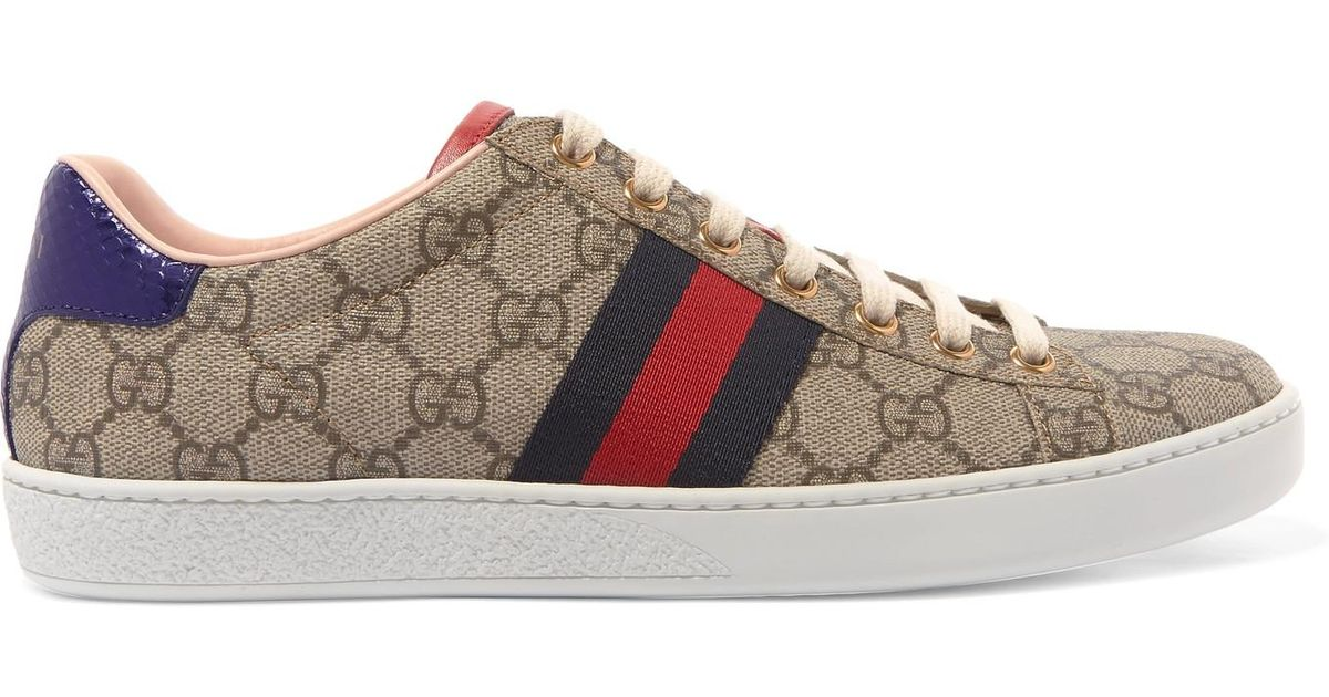 Ace Gg Supreme Metallic Watersnake-trimmed Logo-print Coated-canvas Sneakers - Gray Gucci SKFo0V6PiD