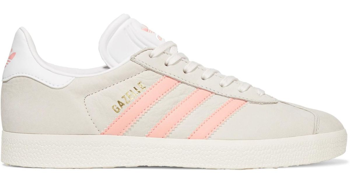 sneakers for cheap new arrivals hot sale Adidas Originals Gray Gazelle Leather-trimmed Nubuck Sneakers