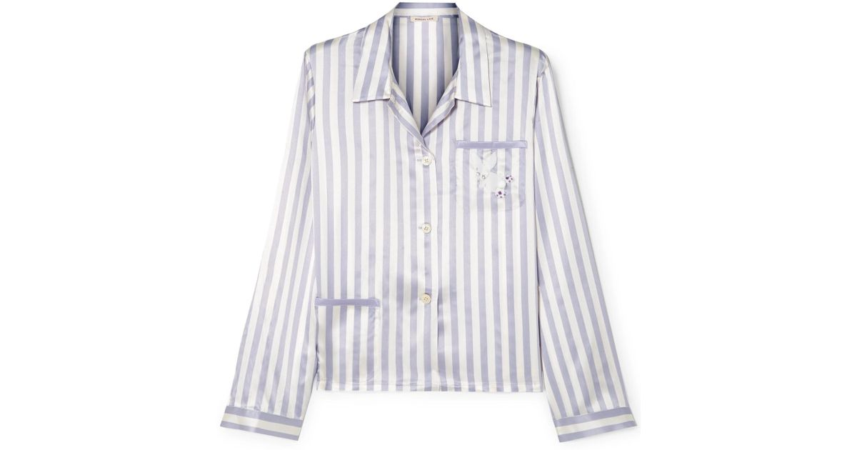 Morgan Lane + Amanda Fatherazi Ruthie Appliquéd Striped Silk-charmeuse  Pajama Shirt in Purple - Lyst 6d9059f04