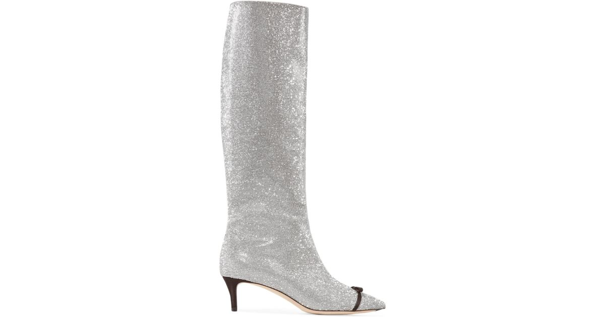 Bow-embellished Swarovski Crystal And Leather Knee Boots - Silver Marco De Vincenzo