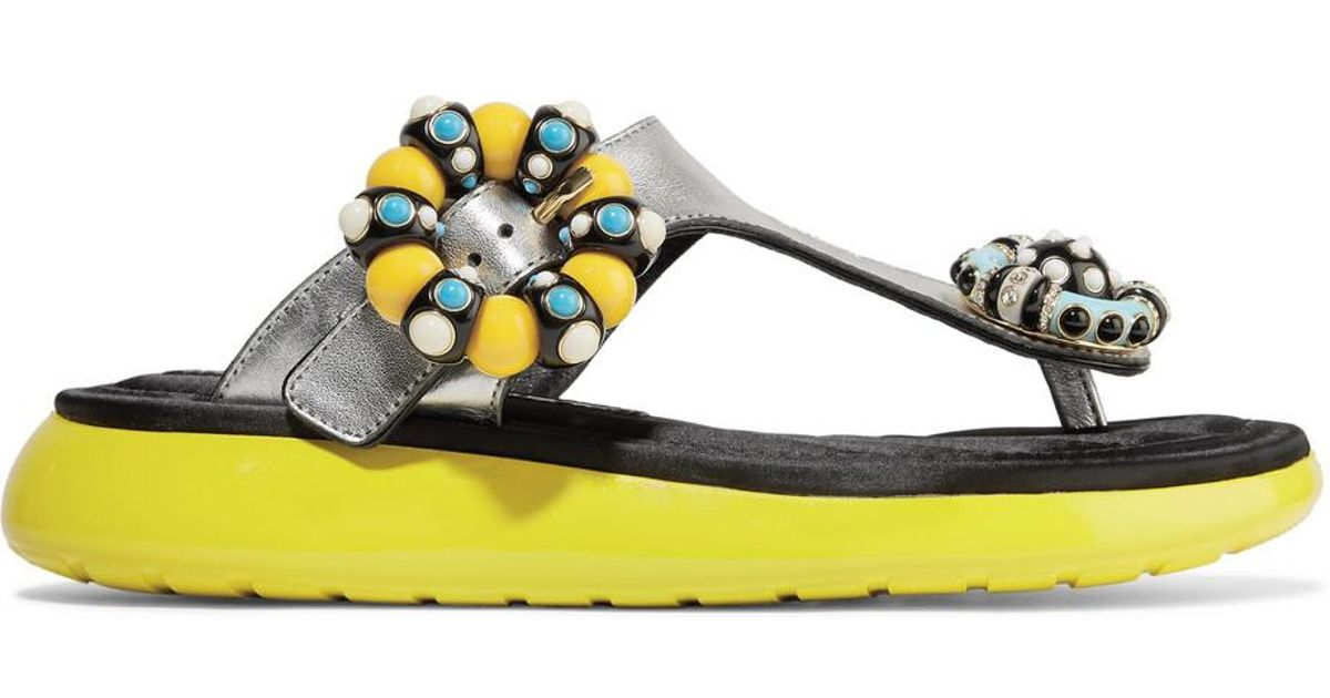 Mabel Embellished Metallic Textured-leather And Rubber Sandals - Silver Marc Jacobs AyHcKKwCX