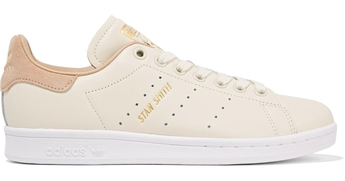 bc9e35be007a ... reduced lyst adidas originals stan smith suede trimmed leather sneakers  in white 7acb7 4feda