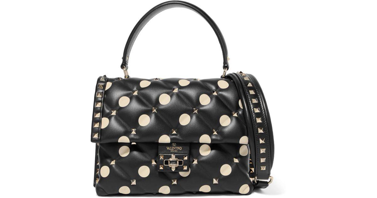 Valentino Garavani Candystud Polka-dot Quilted Leather Shoulder Bag - Black Valentino h9Kc2Vo
