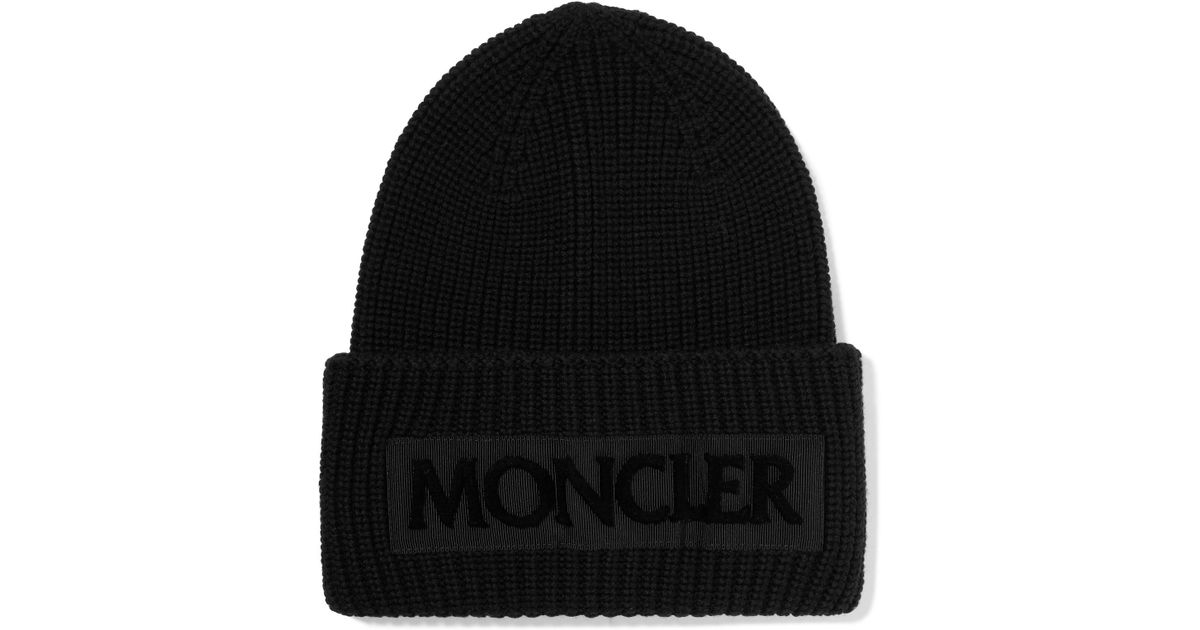 d1469a10e3a Lyst - Moncler Flocked Grosgrain-trimmed Ribbed Wool Beanie in Black