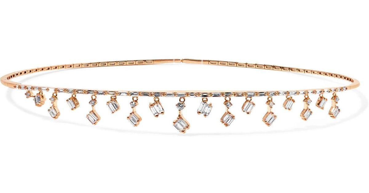 7b2f5ed9c6e5 Lyst - Suzanne Kalan Dangle 18-karat Rose Gold Diamond Choker Rose Gold One  Size in Metallic