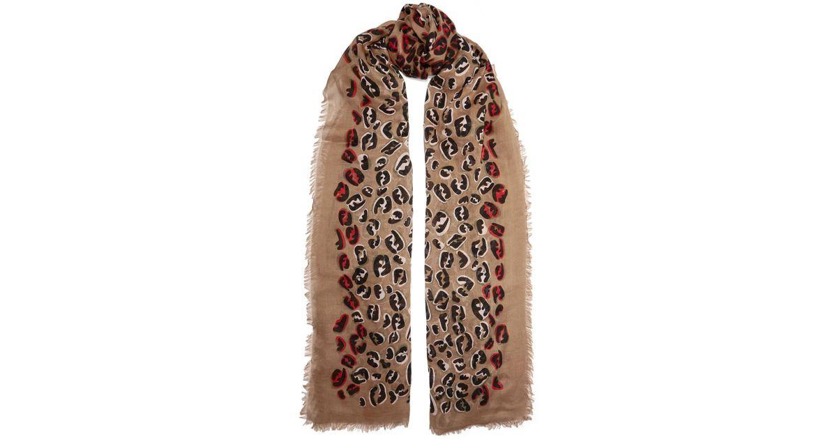 a5346fa2 Fendi Multicolor Fringed Leopard-print Modal And Silk-blend Voile Scarf