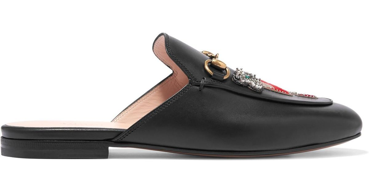 a7fa8211108 Lyst - Gucci Princetown Appliquéd Embellished Leather Slippers in Black