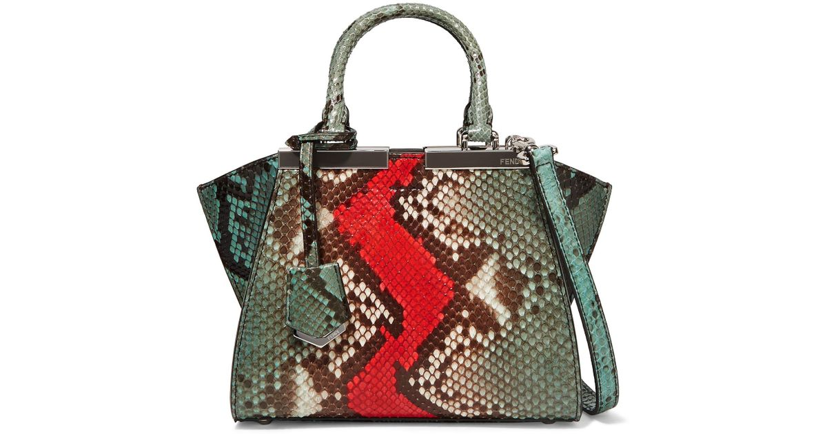 402ac2c186d ... shop lyst fendi 3jours small python and leather tote bag d5948 d4143 ...