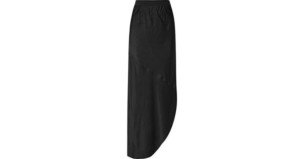 2f7274bb55f By Malene Birger Aliviay Asymmetric Crepe De Chine Maxi Skirt in Black -  Lyst
