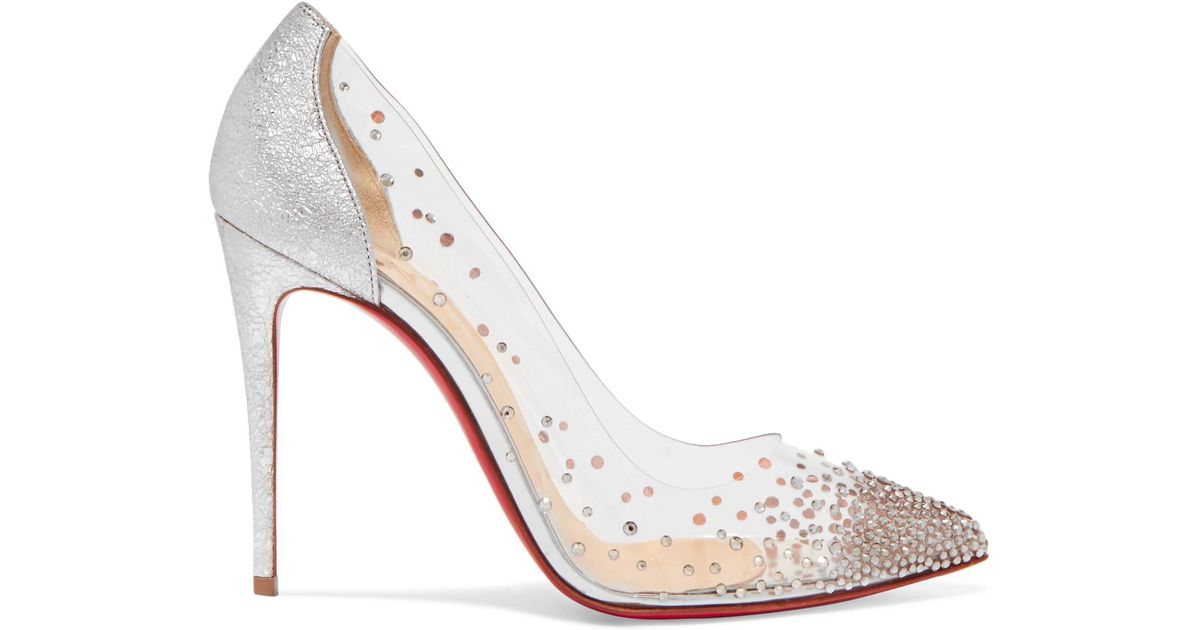 b22c4b4a766 Christian Louboutin Degrastrass 100 Crystal-embellished Pvc And Metallic  Cracked-leather Pumps