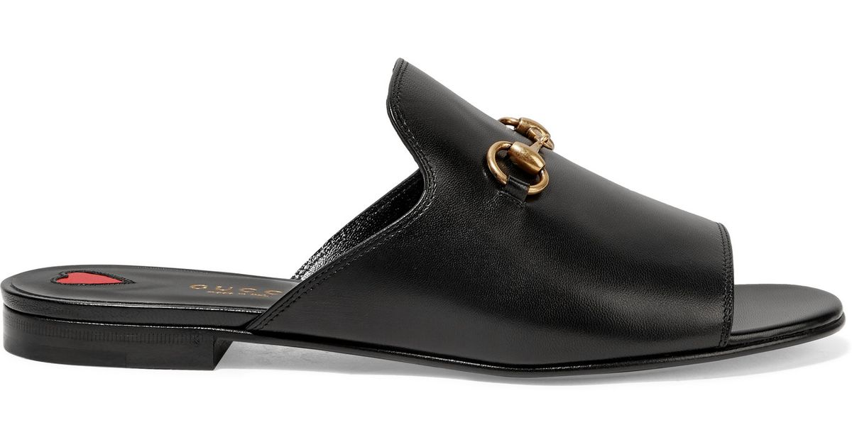 8f9226660 Gucci Horsebit-detailed Leather Slides in Black - Lyst