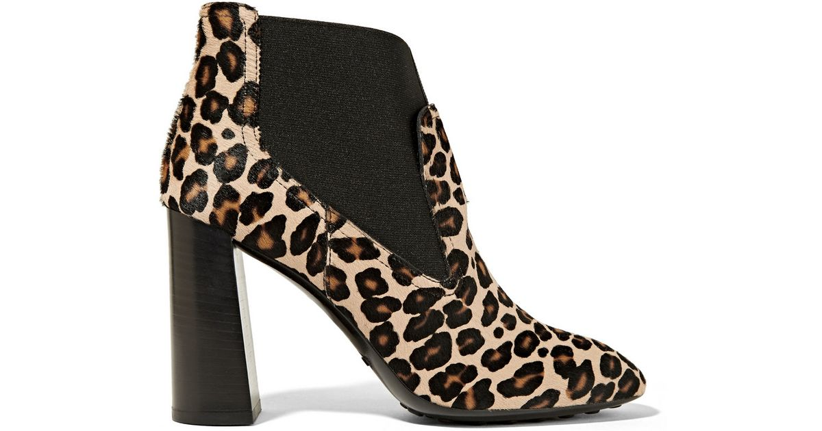 tod s leopard print calf hair ankle boots in black