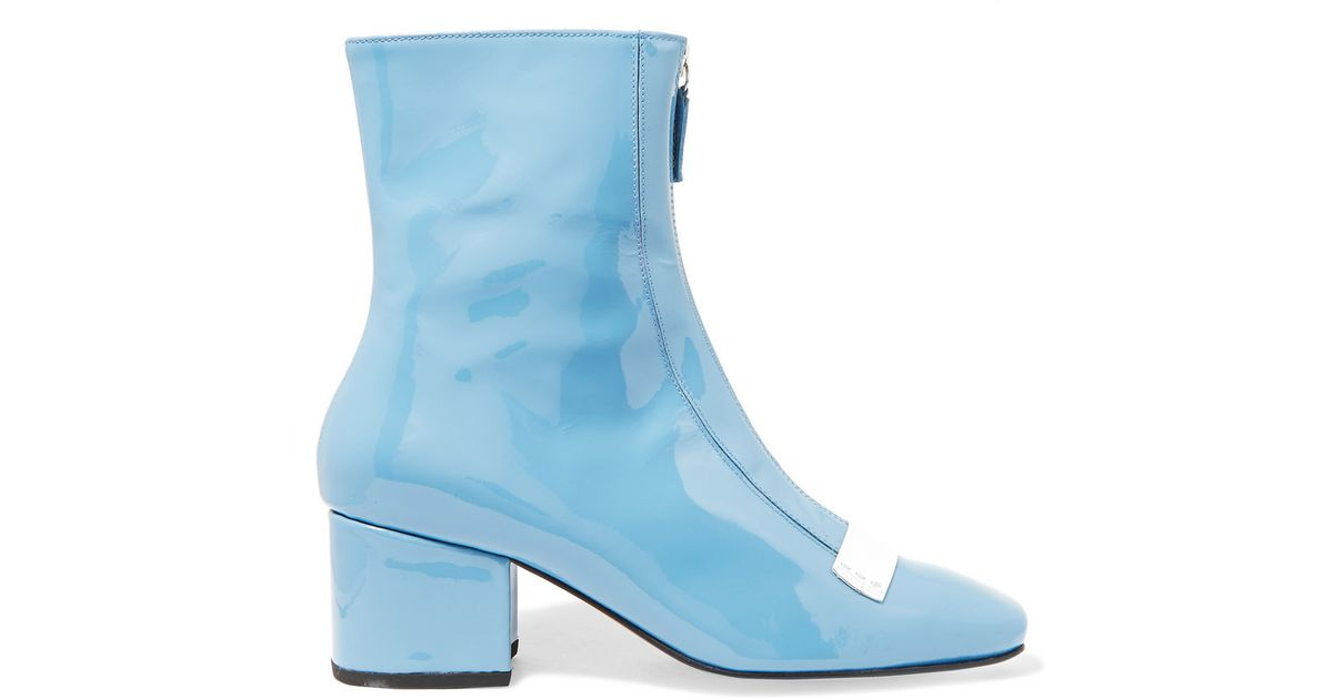 dorateymur delta patent leather ankle boots in blue