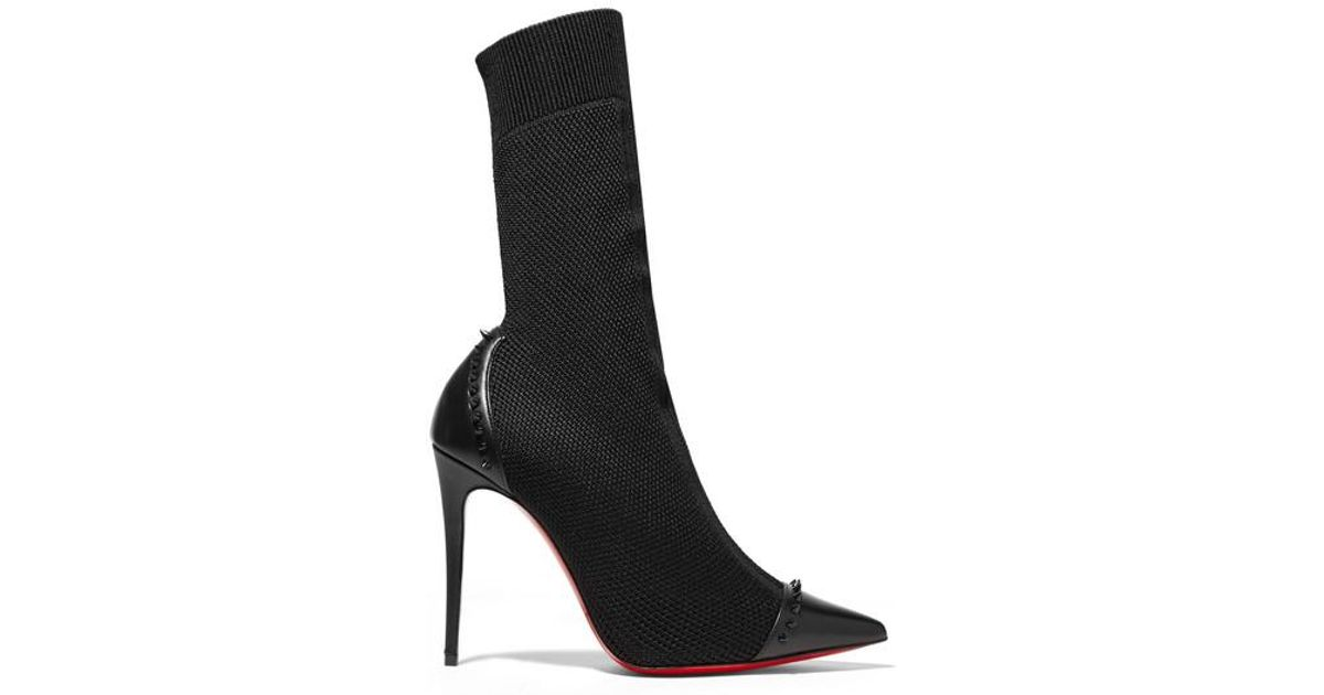 2c2aaa9b3f8 Christian Louboutin Black Dovi Dova 100 Studded Leather-trimmed  Stretch-knit Sock Boots