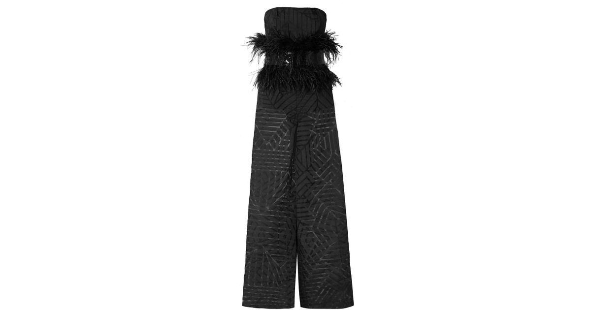 1266714ed1f6 Lyst - SemSem Feather And Sequin-embellished Devoré-organza Jumpsuit in  Black
