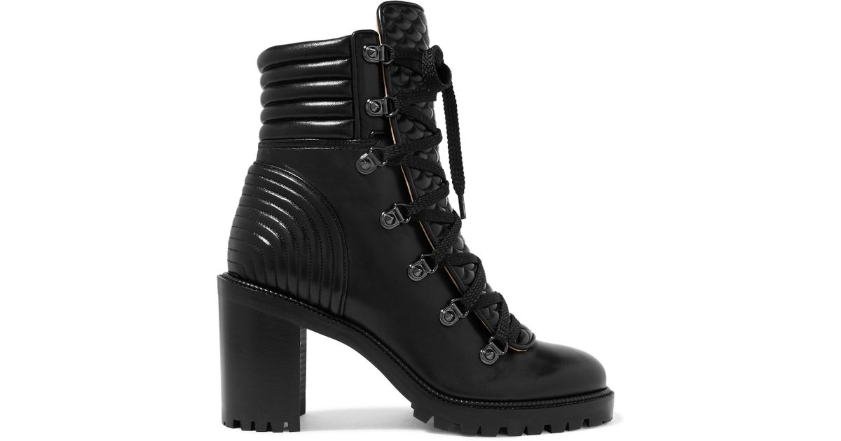 timeless design 0334a b545f Christian Louboutin Black Mad 70 Spiked Quilted Leather Ankle Boots