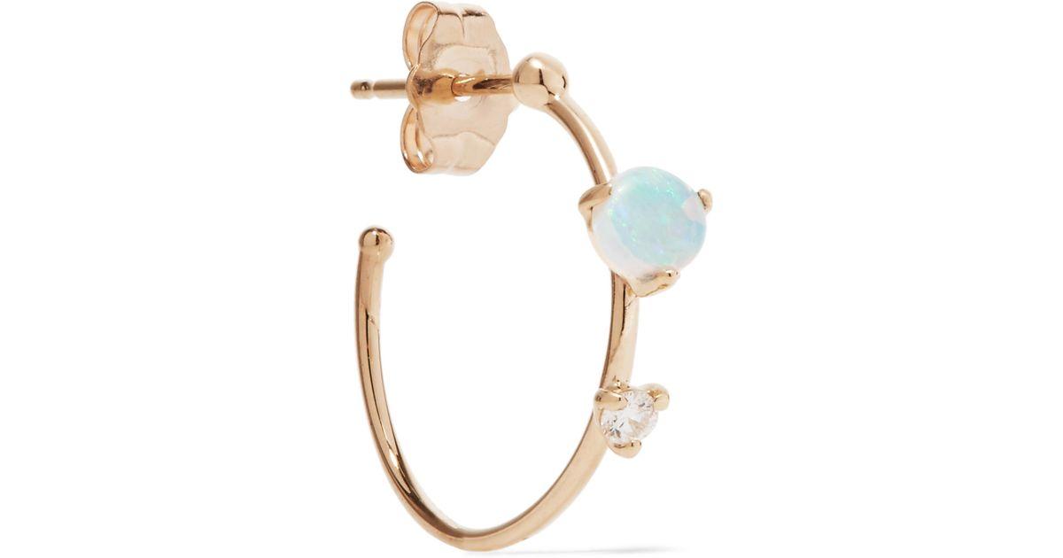 Wwake 14-karat Gold, Opal And Diamond Earrings