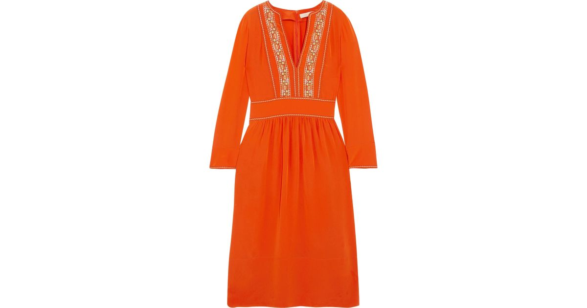 Hervine Embroidered Silk Midi Dress - Orange Vanessa Bruno gUhz3AGVjh