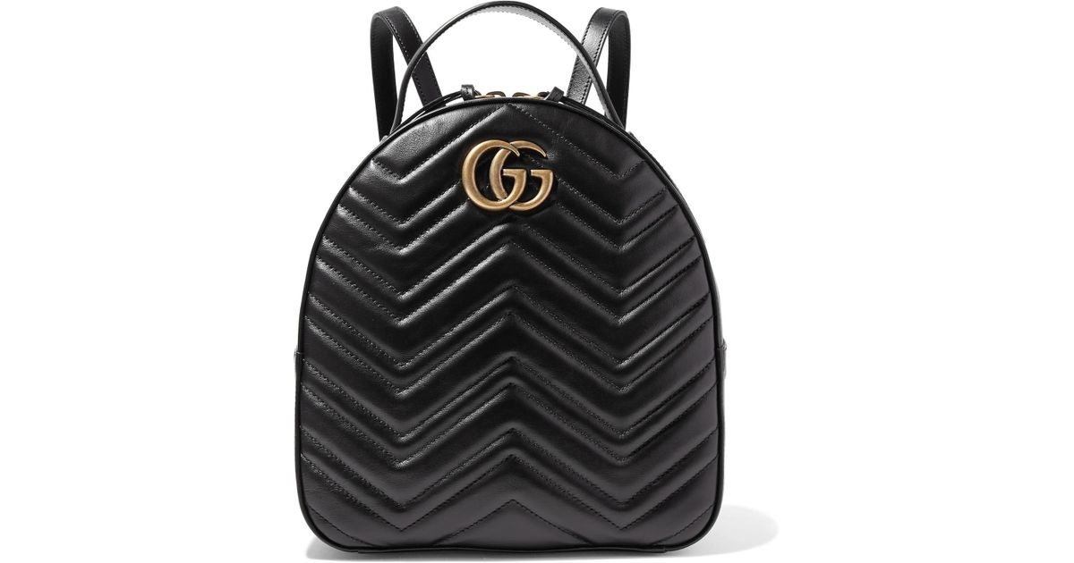 cf42d26bd03 Gucci Gg Marmont Quilted Leather Backpack in Black - Lyst