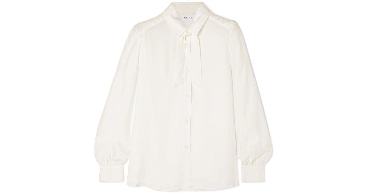 04d68ffbb02530 Lyst - FRAME Woman Pussy-bow Washed-silk Blouse Off-white in White