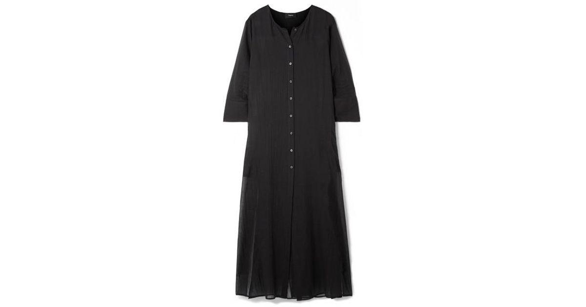 Theory Gaze Coton Longue De En Coloris Robe Weekend Black UMqLpzVSG