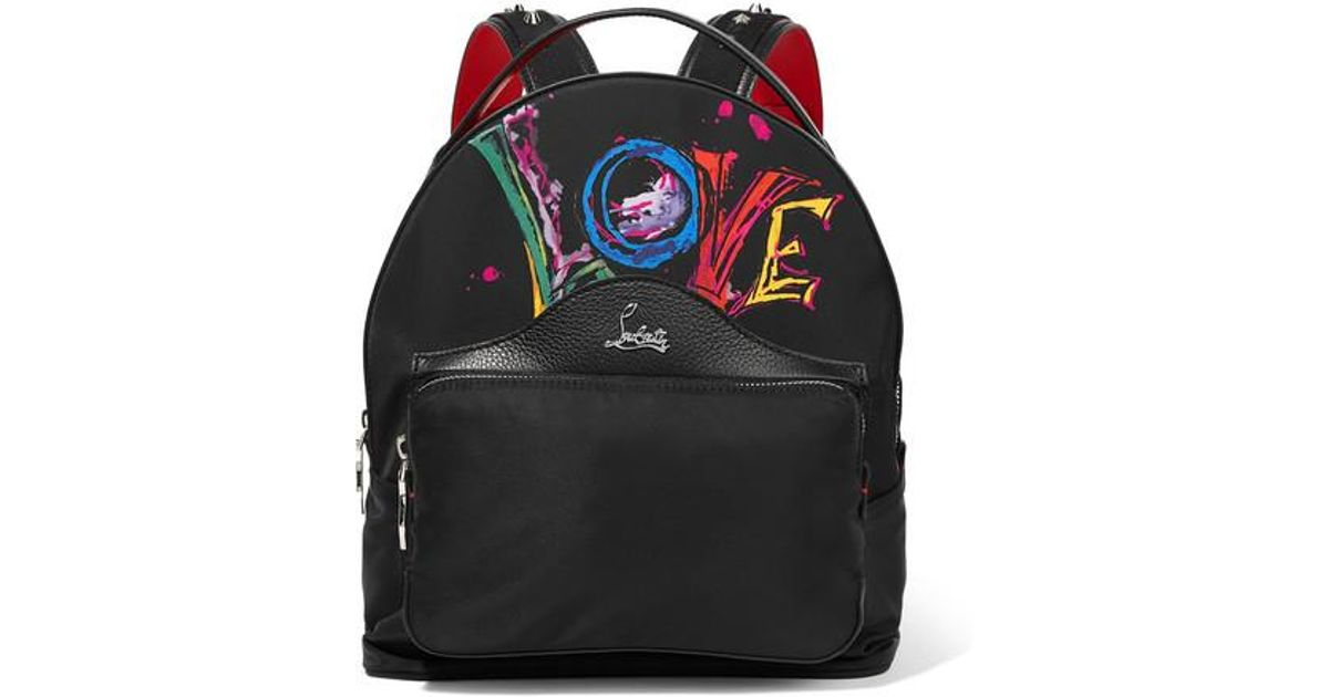 0b992ea189f Christian Louboutin Black Backloubi Studded Textured Leather-trimmed  Printed Shell Backpack