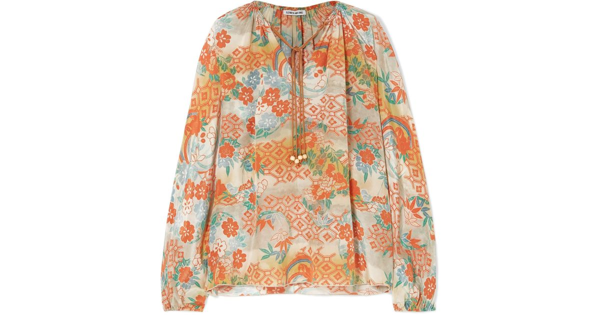 Chance Printed Silk Blouse - Marigold Elizabeth & James From China Online SEY5fGV