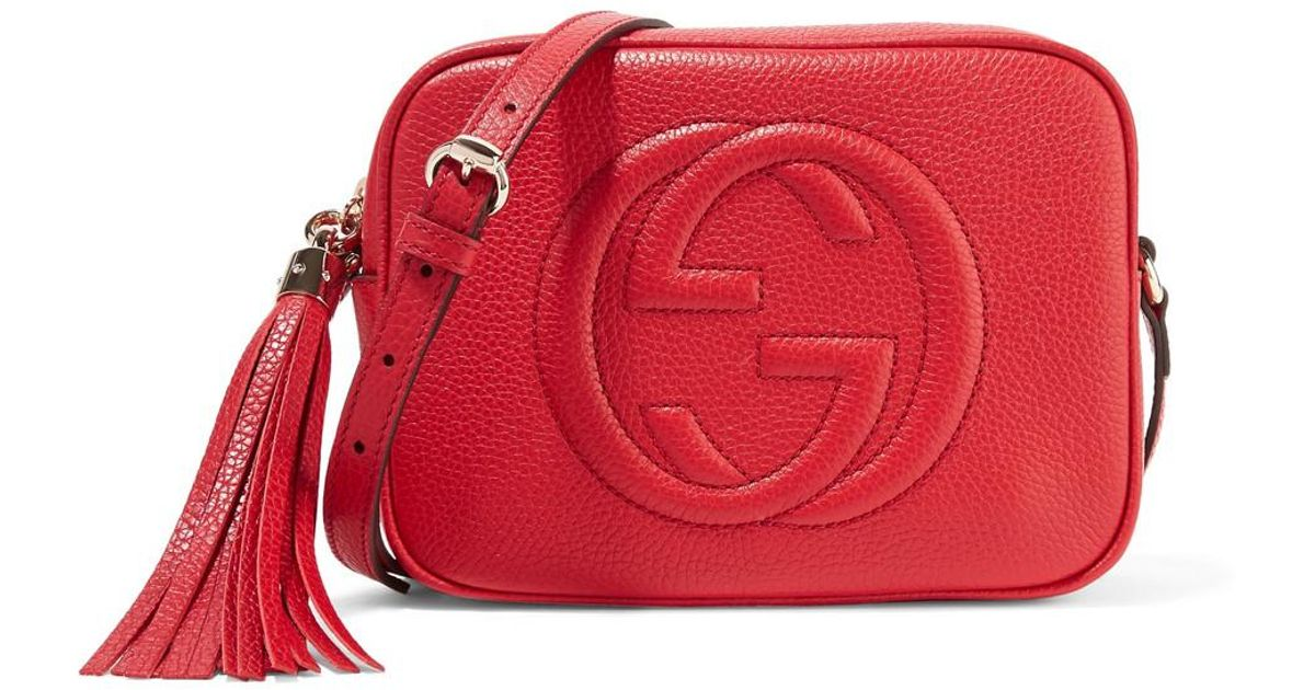 62cd2318d155 Lyst - Gucci Soho Small Leather Disco Bag in Red