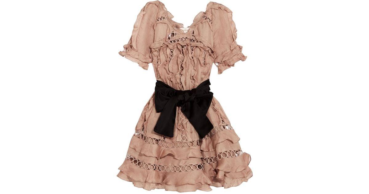 104ed488ffdc5 Zimmermann Winsome Guipure Lace-paneled Ruffled Silk And Linen-blend Mini  Dress - Lyst