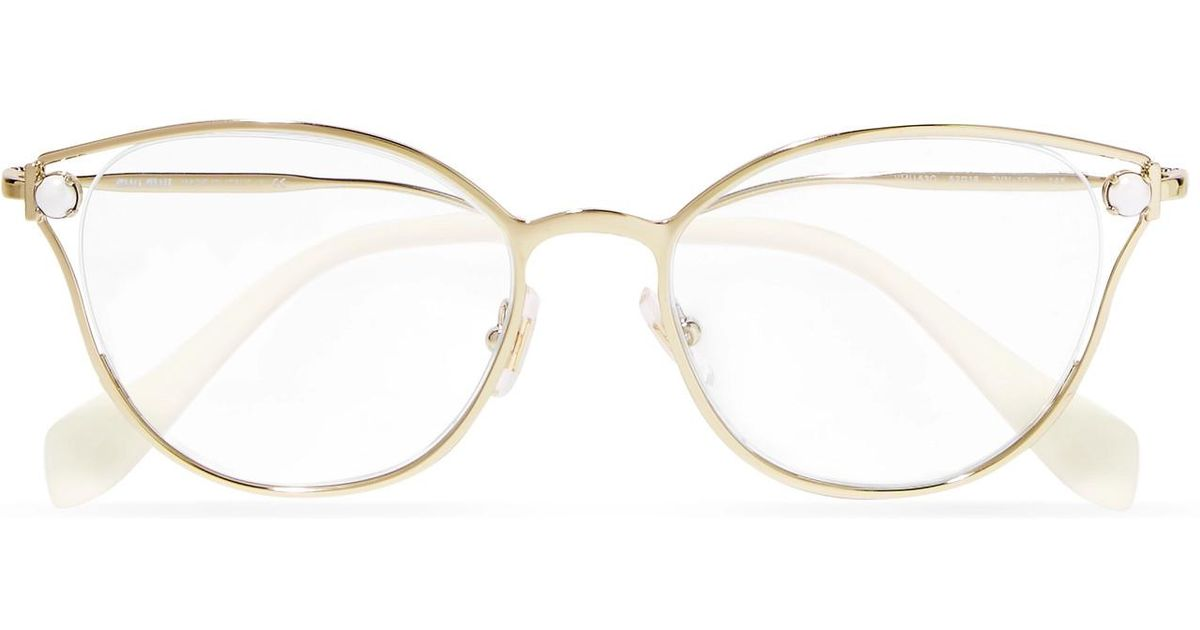 e6ab9f43d49 Lyst - Miu Miu Embellished Cat-eye Gold-tone Optical Glasses in Metallic
