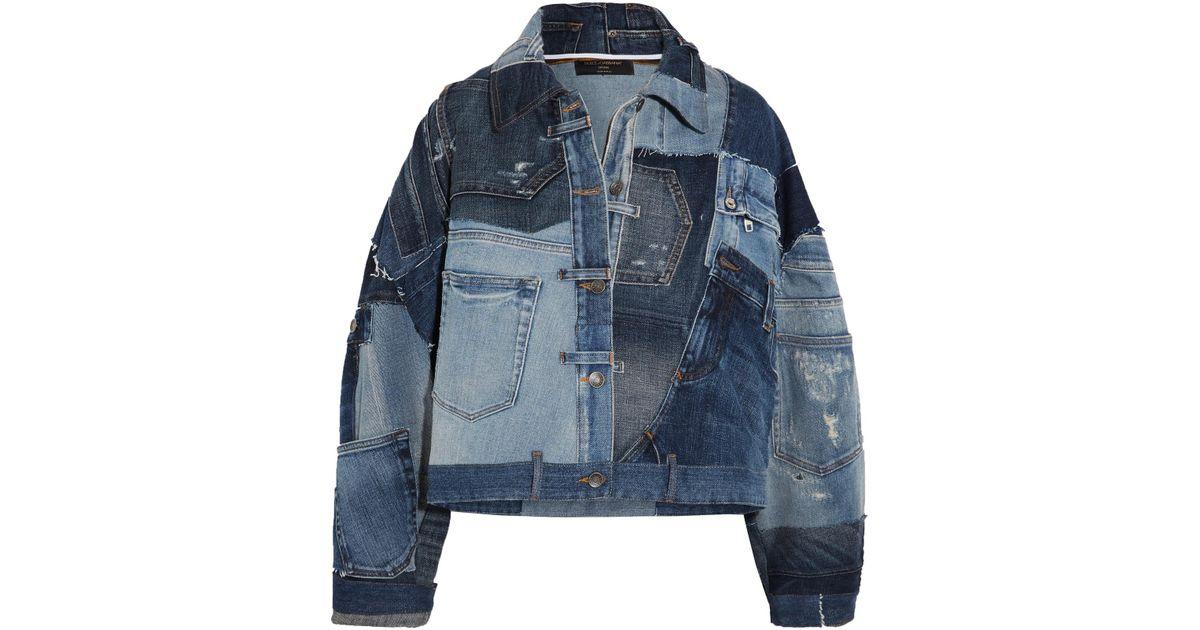 b12a02894845 Lyst - Dolce   Gabbana Distressed Patchwork Denim Jacket in Blue