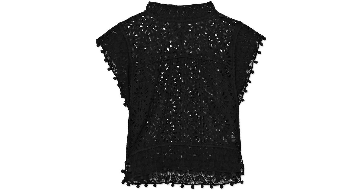 4527ae7dd4 Isabel Marant Woman Kery Lace-trimmed Broderie Anglaise Cotton Top Black in  Black - Lyst