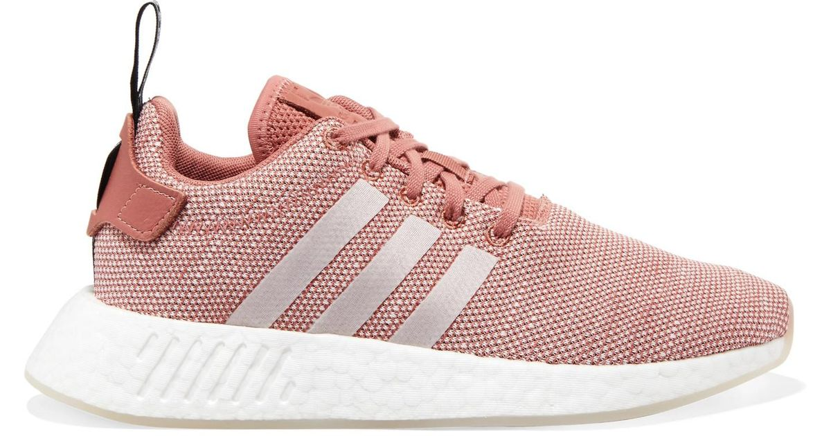 Adidas Originals Pink Nmd R2 Leather trimmed Primeknit Sneakers