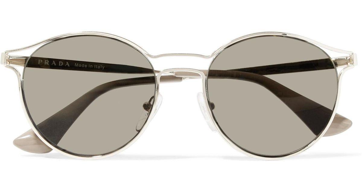 ffa5295ddc54 ... canada prada round frame gold tone mirrored sunglasses in metallic lyst  d5058 e2c02